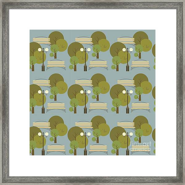 Seamless Pattern On The Theme Parks And Framed Print by Marrishuanna