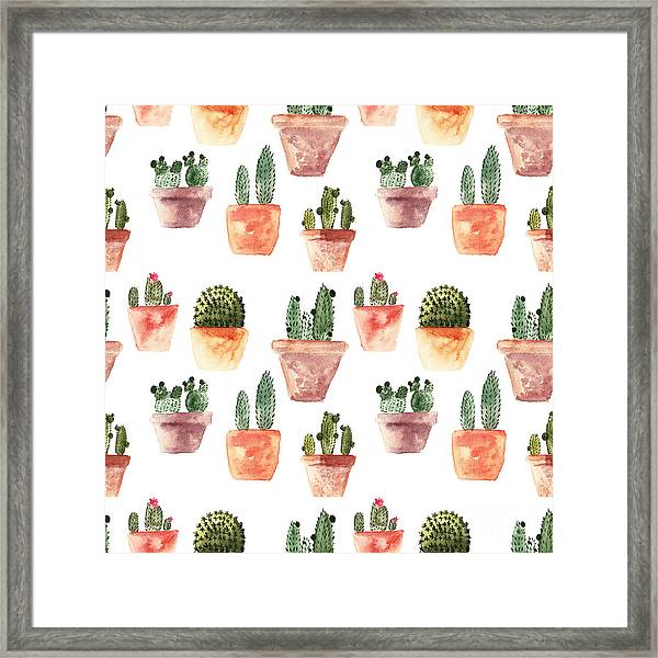 Seamless Pattern With Cactus Framed Print