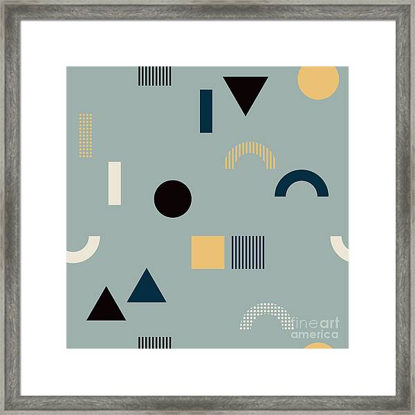Seamless Pattern With Geometrical Framed Print