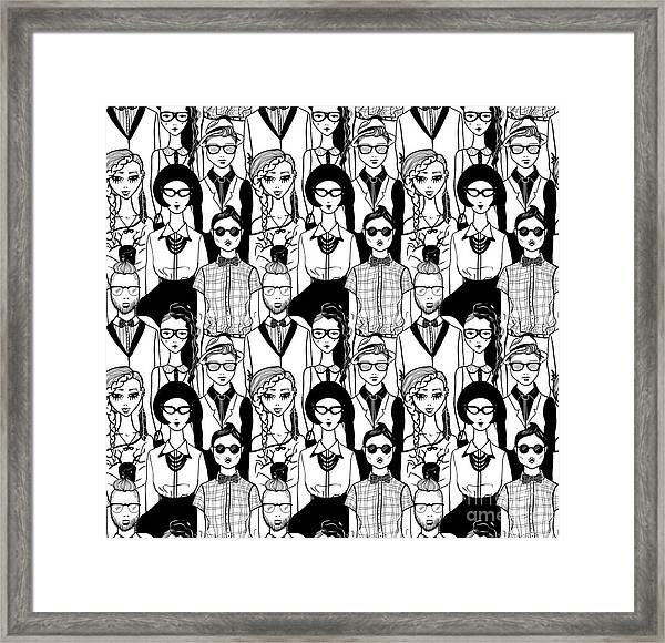 Seamless Pattern With Hipsters. Raster Framed Print