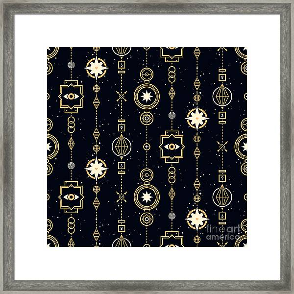Seamless Pattern With Stars And Magical Framed Print
