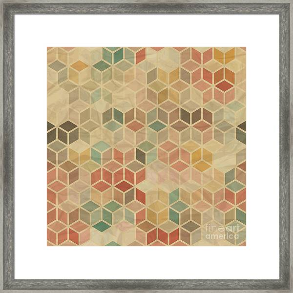 Seamless Retro Geometric Pattern Framed Print by Incomible
