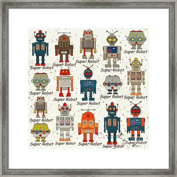 Seamless Robot Pattern,cartoon Vector Framed Print
