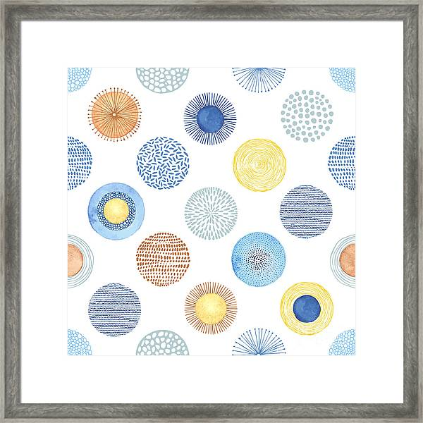 Seamless Summer Pattern With Hand-drawn Framed Print by Nikiparonak