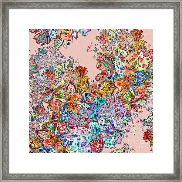 Seamless Texture With Colorful Crazy Framed Print