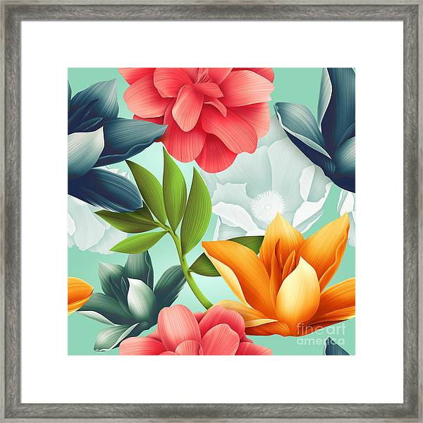 Seamless Tropical Flower, Plant Pattern Framed Print by Mystel