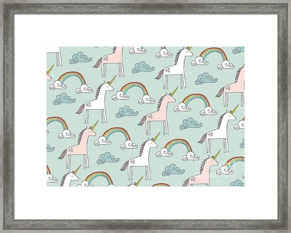Seamless Unicorn Vectorillustration Framed Print