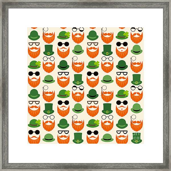 Seamless Vector Pattern With Faces In Framed Print