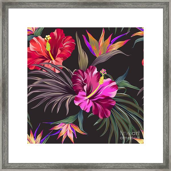 Seamless Vector Tropical Pattern Framed Print
