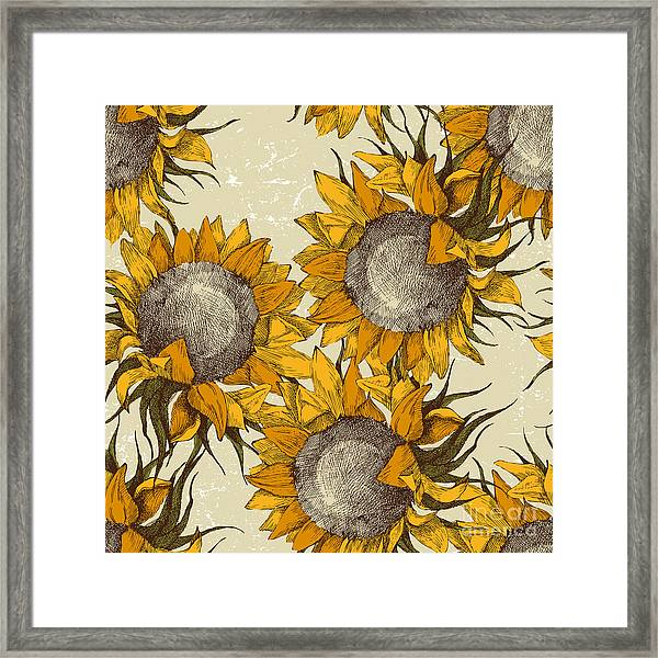 Seamless Vintage Ornament With Framed Print