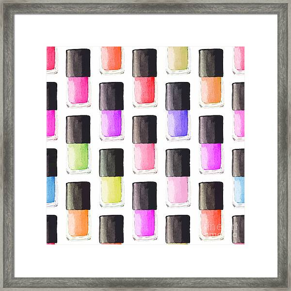 Seamless Watercolor Pattern With Beauty Framed Print