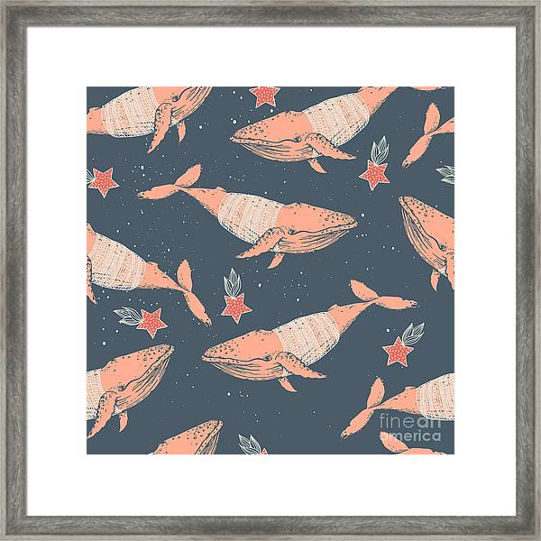 Seamless Winter Vector Pattern. Whales Framed Print