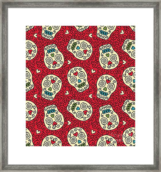 Seamless With Mexican Skulls Framed Print by Rvvlada