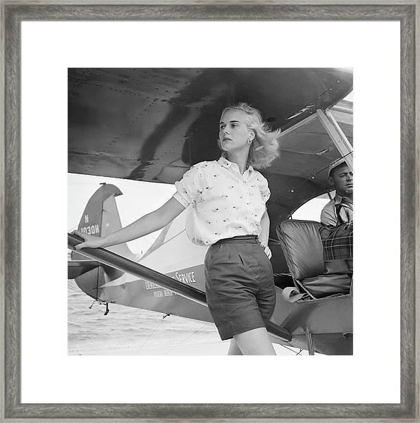 Seaplane At Palm Beach Framed Print