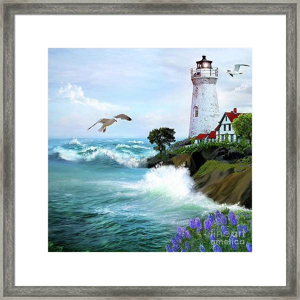 Seascape With Lighthouse Framed Print