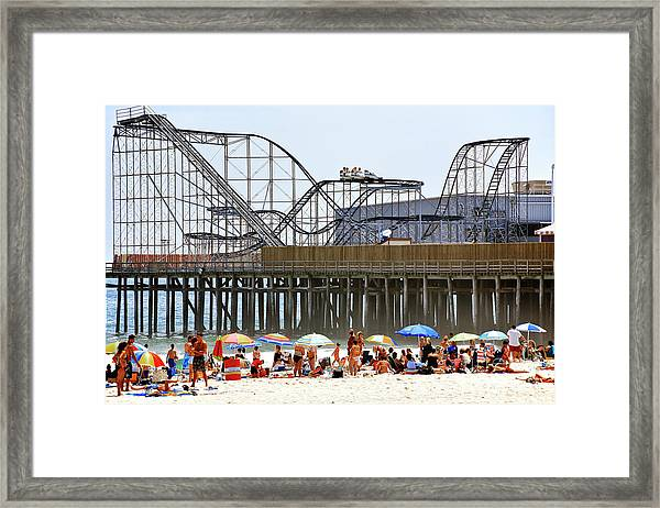Seaside Heights Star Jet Roller Coaster Color 2006 Framed Print by John Rizzuto
