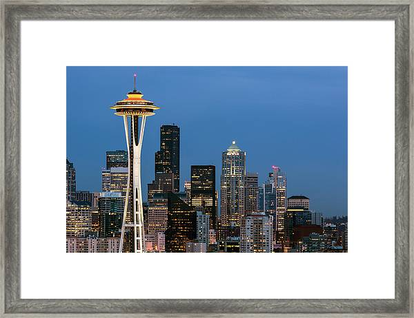 Framed Print featuring the photograph Seattle Space Needle by Nicole Young