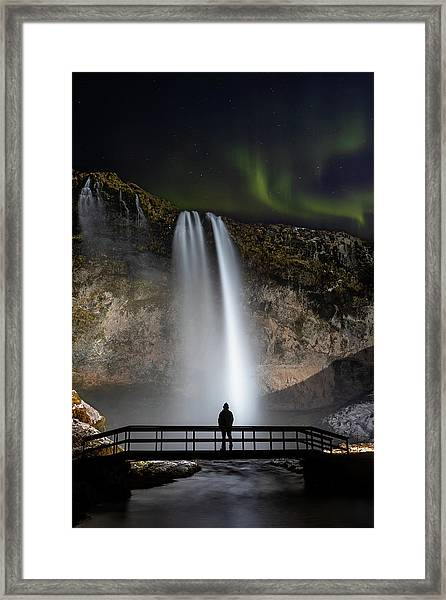 Seljalandsfoss Northern Lights Silhouette Framed Print