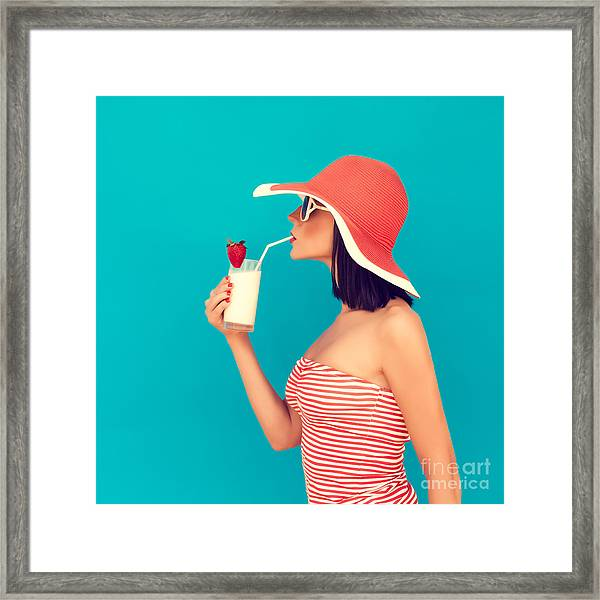 Sensual Girl With A Summer Cocktail Framed Print