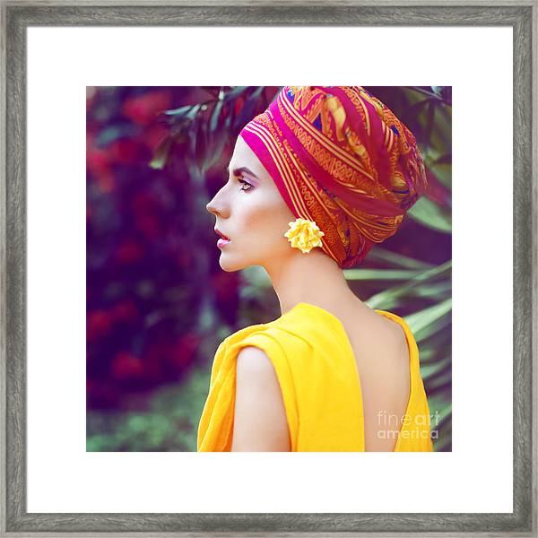 Sensual Oriental Girl Framed Print
