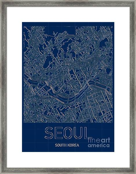 Seoul Blueprint City Map Framed Print