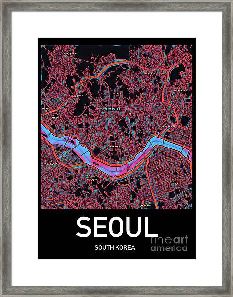 Seoul City Map Framed Print