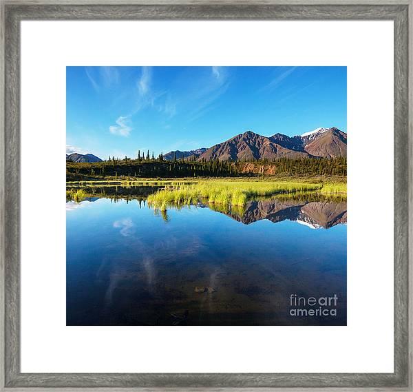 Serenity Lake In Tundra On Alaska Framed Print