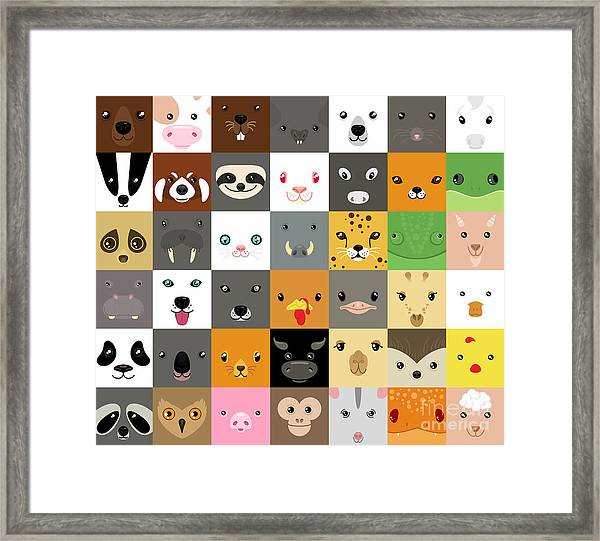 Set Of Cute Simple Animal Faces Framed Print