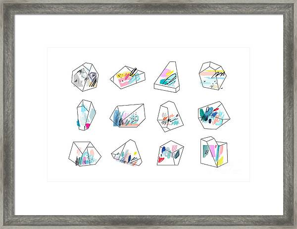 Set Of Geometric Outline Shapes And Framed Print by Lera Efremova