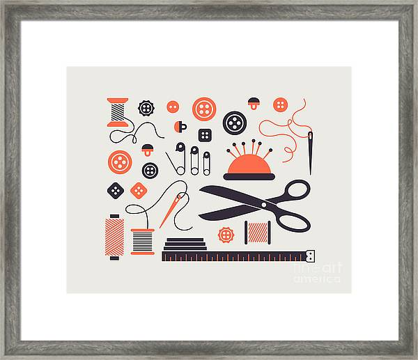 Set Of Sewing And Needlework Icons Framed Print