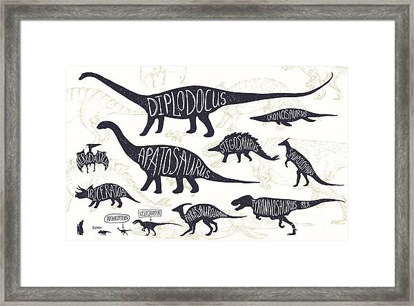 Set Of Silhouettes Of Dinosaurs And Framed Print