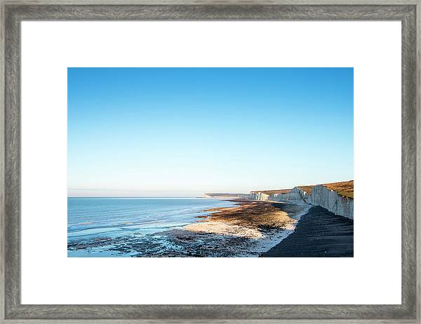 Seven Sisters From Birling Gap At Dawn Framed Print