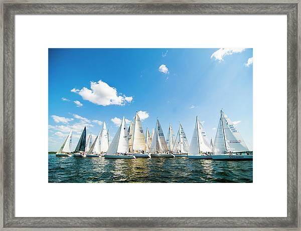 Several Sailboats Framed Print