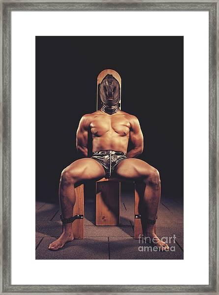 Sexy Man Tiedup On A Bdsm Chair Framed Print