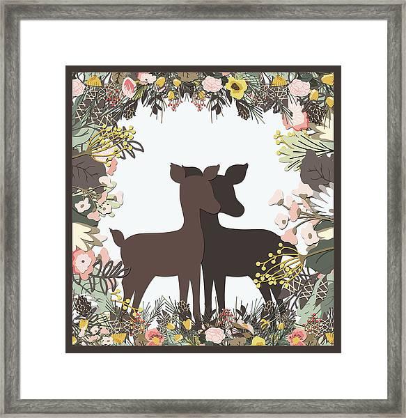 Shadowbox Deer Framed Print