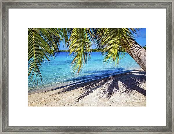 Shadows On The Beach, Takapoto, Tuamotu, French Polynesia Framed Print
