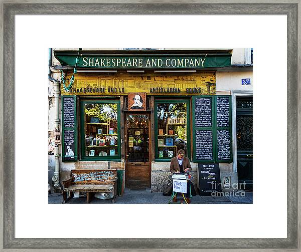 Shakespeare And Company Bookstore Framed Print