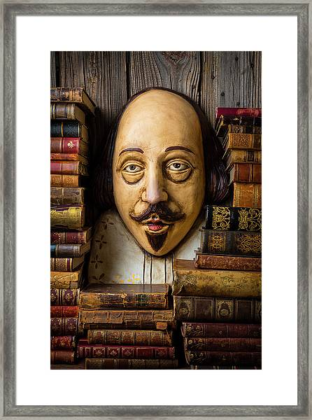 Shakespeare With Old Books Framed Print