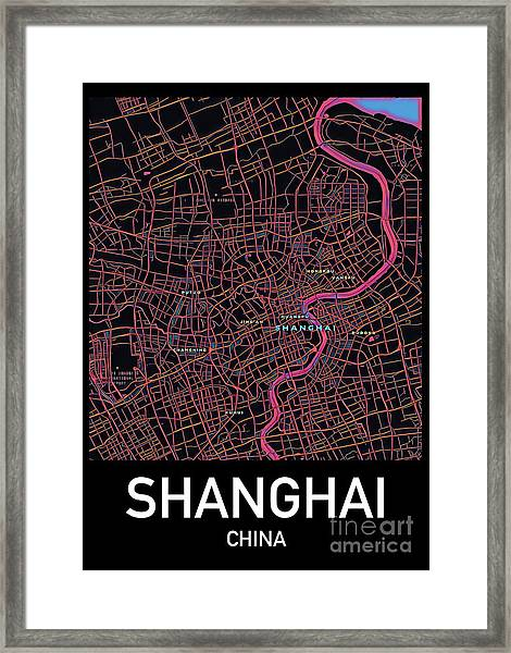 Shanghai City Map Framed Print