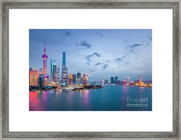 Shanghai In Nightfall, Beautiful Framed Print