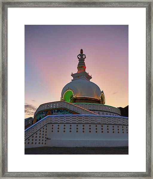 Framed Print featuring the photograph Shanti Stupa by Whitney Goodey