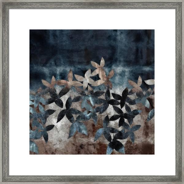 Shibori Leaves Indigo Print Framed Print