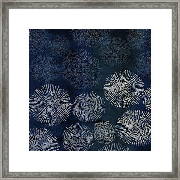 Shibori Sea Urchin Burst Pattern Dark Denim Framed Print