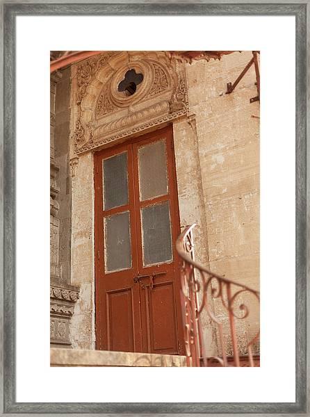 Shinde Chhatri Door Framed Print by Fran Riley