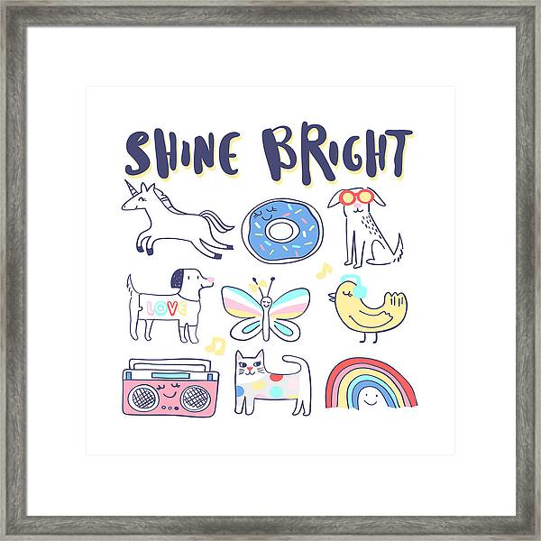 Shine Bright - Baby Room Nursery Art Poster Print Framed Print