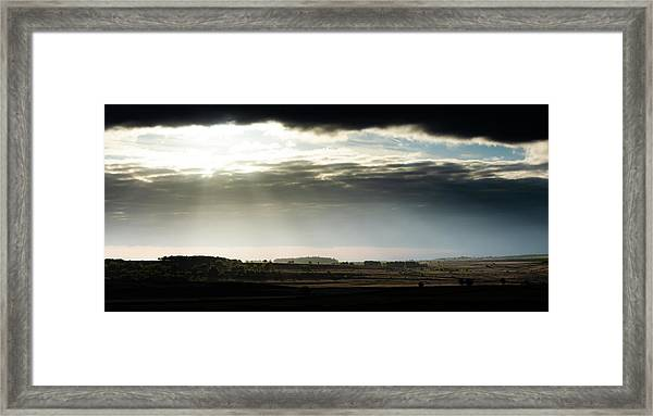 Framed Print featuring the photograph Shining Through At Baslow Edge by Scott Lyons