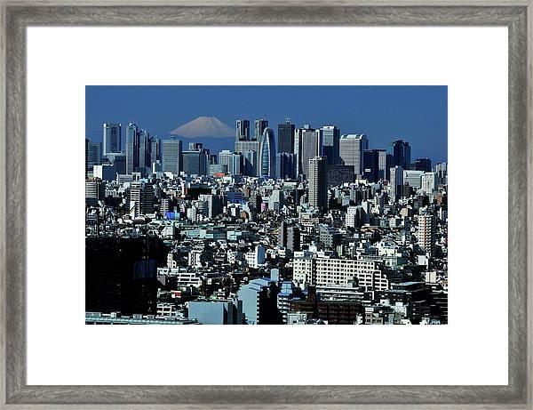Shinjuku Skyline And Mt. Fuji Framed Print