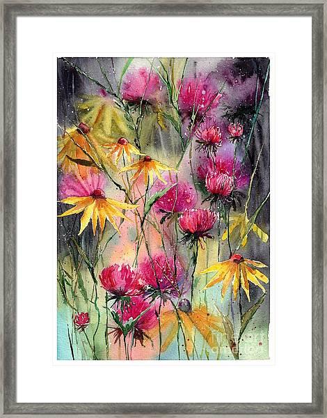 Shiny Rudbeckia And Thistle Framed Print