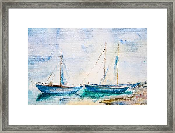 Ships In The Sea, Watercolor Painting Framed Print