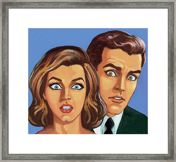 Shocked Couple Framed Print